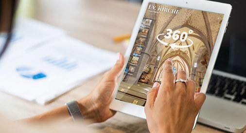 interaktive virtuelle 360° Foto Tour am Tablet